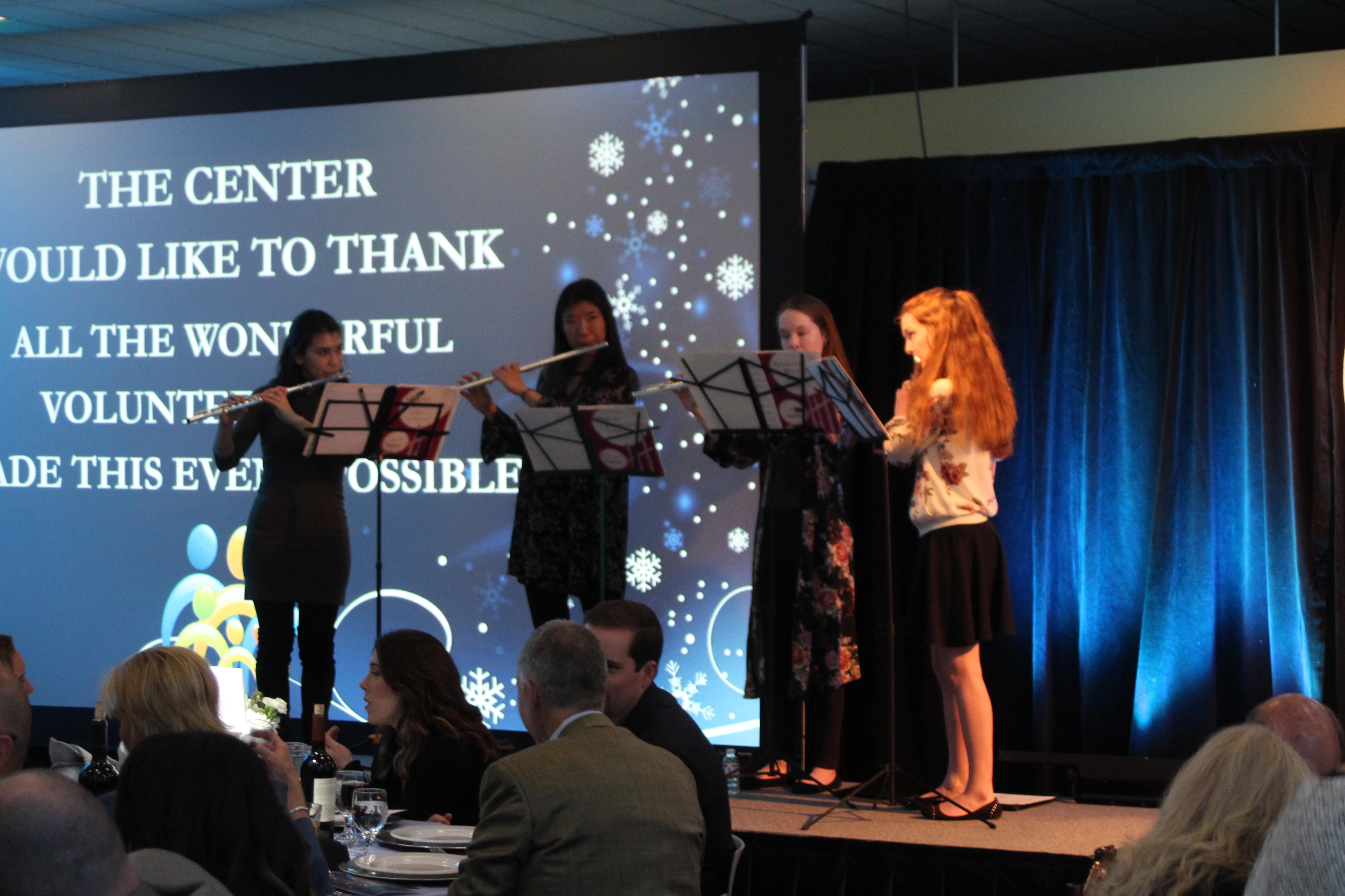 Oakridge High School Flute Quartet plays for The Center's Winter Gala